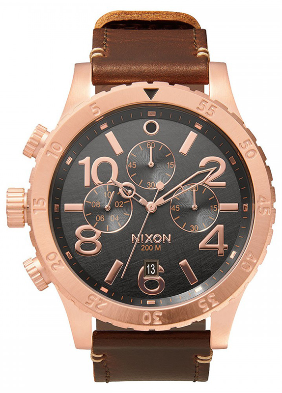 Ρολόι χειρός Nixon Chrono 48-20 Rose gold Leather Strap A363-2001-00 A363-2001-00 Ατσάλι