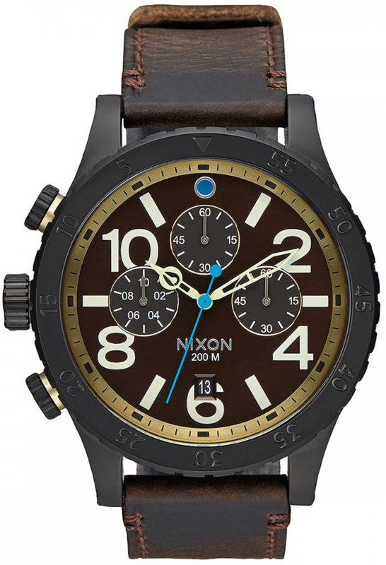 Ρολόι χειρός Nixon Chrono 48-20 Brown Leather Strap A363-2209-00 A363-2209-00 Ατσάλι