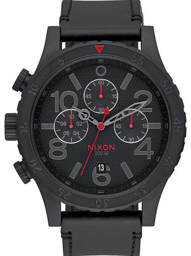 Ρολόι Nixon Chrono 48-20 Black Leather Strap A363-2298-00 A363-2298-00 Ατσάλι