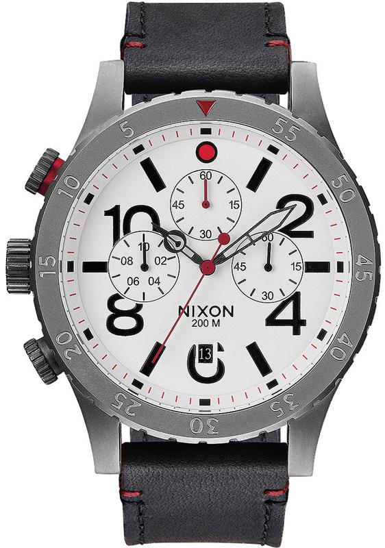 Ρολόι αντρικό Nixon Chrono 48-20 Black Leather Strap A363-468-00 A363-468-00 Ατσάλι