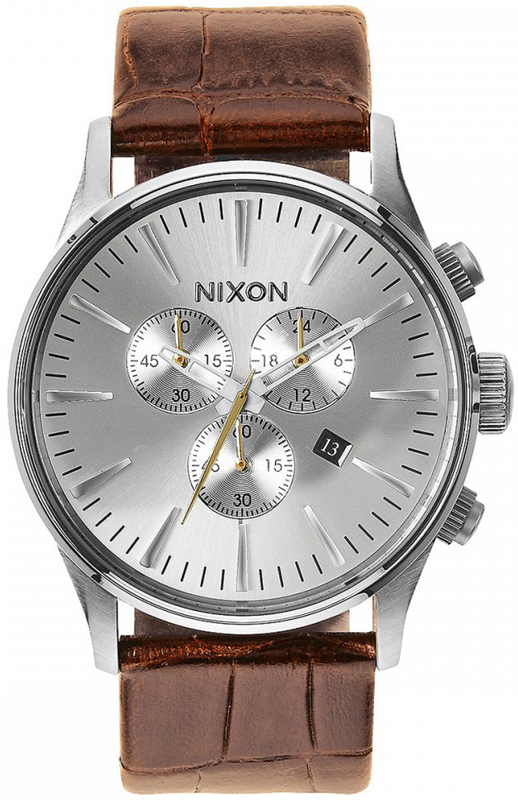 Αντρικό ρολόι Nixon Sentry Chrono Brown Leather Strap A405-1888-00 A405-1888-00 Ατσάλι