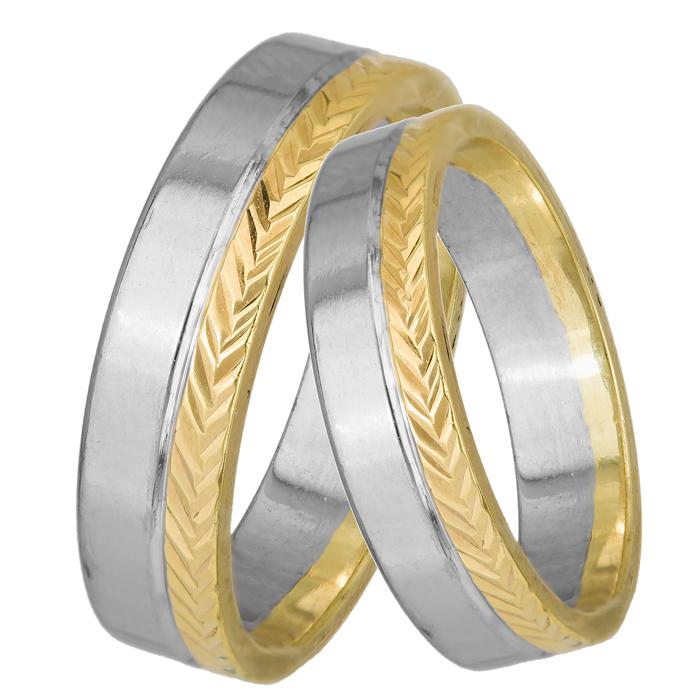 Βέρες γάμου σε διχρωμία Κ14 025096 025096 Χρυσός 14 Καράτια