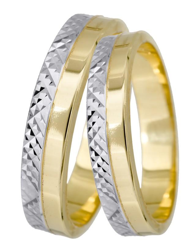 Βέρες γάμου Κ9 σε διχρωμία 024706 024706 Χρυσός 9 Καράτια