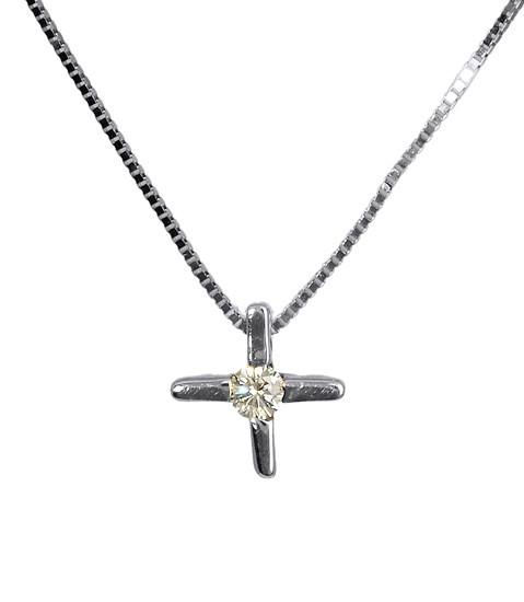 Λευκόχρυσος Σταυρός Κ18 με διαμάντι 000953 Χρυσός 18 Καράτια