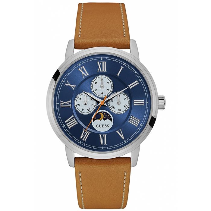 Guess αντρικό ρολόι brown leather strap W0870G4 W0870G4 Ατσάλι