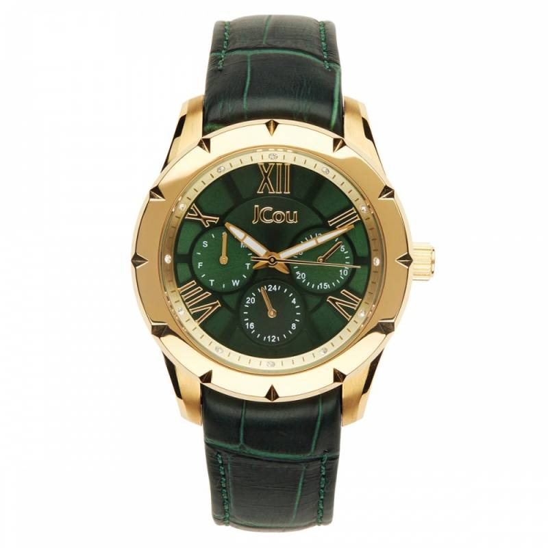 Ρολόι Jcou Island Green Leather Strap JU14490JSG-19 JU14490JSG-19 Ατσάλι ρολόγια jcou