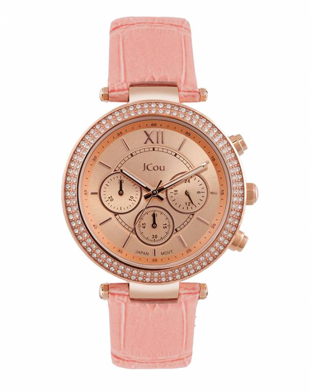 Ρολόι Jcou Lady D pink leather strap JU16017-8 JU16017-8 Ατσάλι