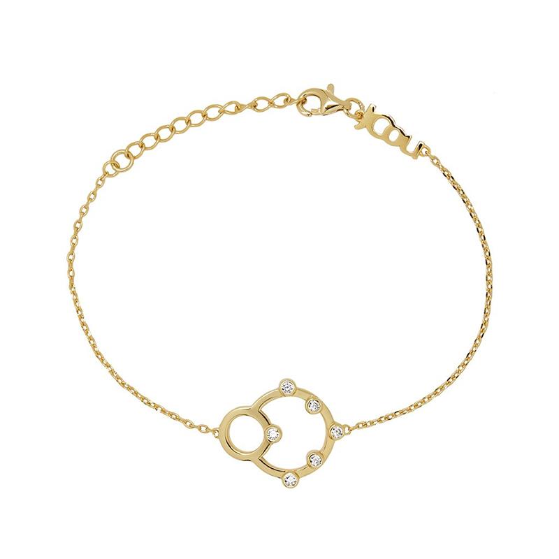 Επίχρυσο βραχιόλι με κύκλους και λευκά ζιργκόν JCOU Round Minimal 925 JW906G2-01 JW906G2-01 Ασήμι