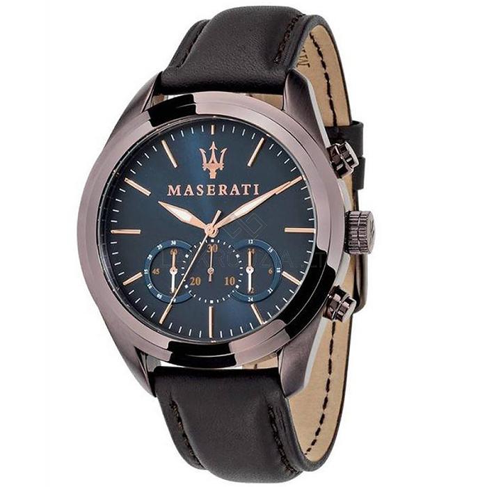 Ρολόι MASERATI Traguardo Cronograph Brown Leather Strap R8871612008 R8871612008 Ατσάλι