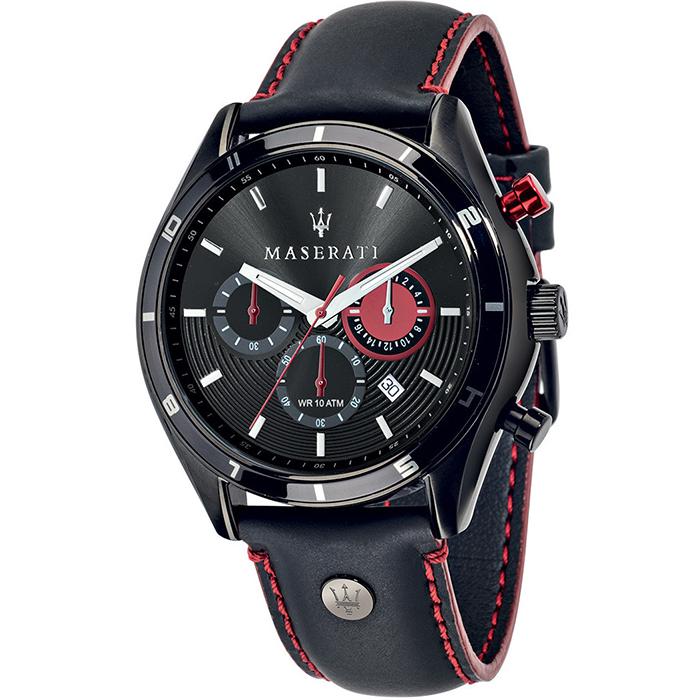 Ρολόι MASERATI Sorpasso Black Leather Strap R8871624002 R8871624002 Ατσάλι