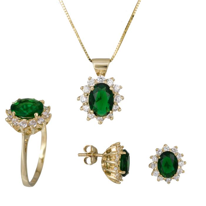 Χρυσό σετ ροζέτα με πράσινη πέτρα 14Κ SET021623 SET021623 Χρυσός 14 Καράτια