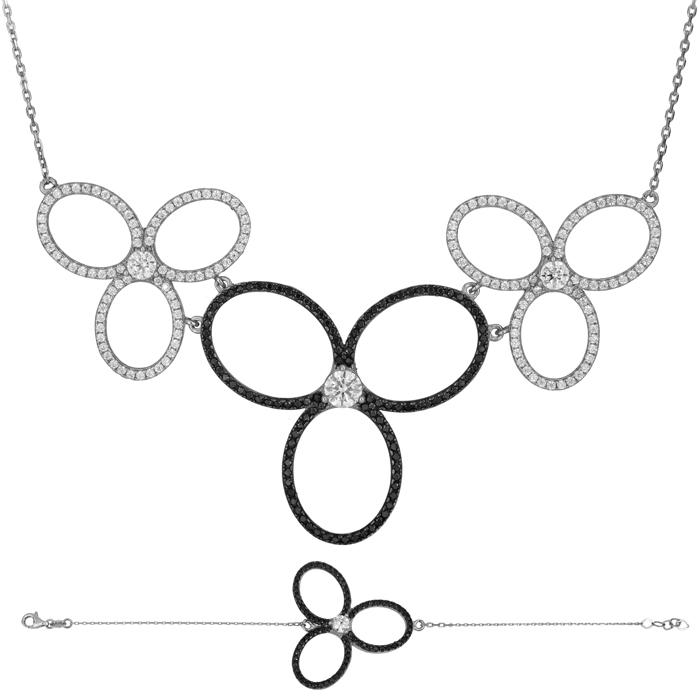 Λευκόχρυσο σετ πετράτα ασπρόμαυρα λουλούδια Κ14 SET025478 SET025478 Χρυσός 14 Καράτια