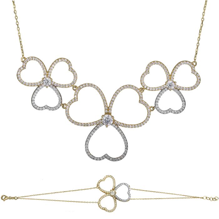 Δίχρωμο σετ Κ14 πετράτα λουλούδια με καρδιές SET025479 SET025479 Χρυσός 14 Καράτια