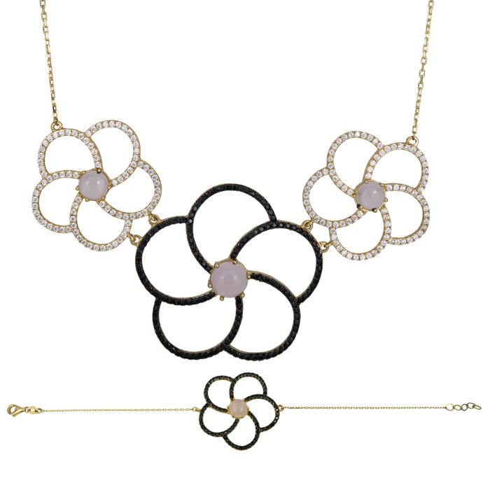 Χρυσό σετ Κ14 λουλούδια με ζιργκόν SET025489 SET025489 Χρυσός 14 Καράτια
