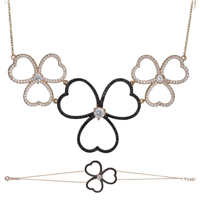 Ροζ gold σετ Κ14 πετράτα λουλούδια με καρδιές SET025490 SET025490 Χρυσός 14 Καράτια