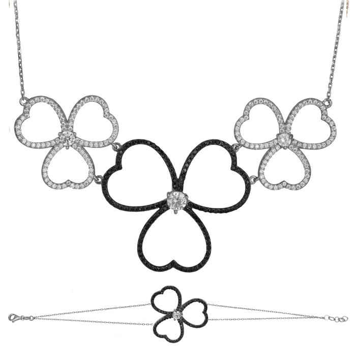 Λευκόχρυσο σετ Κ14 πετράτα λουλούδια με καρδιές SET025491 SET025491 Χρυσός 14 Καράτια