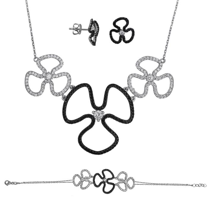 Λευκόχρυσο σετ Κ14 λουλούδια με ζιργκόν SET025492 SET025492 Χρυσός 14 Καράτια