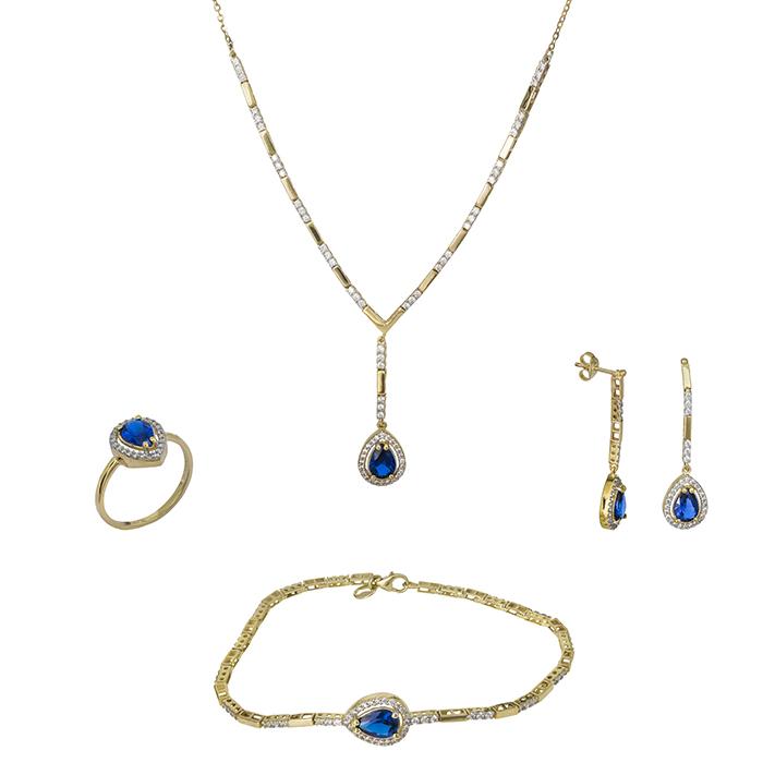 Χρυσό σετ Κ9 με ροζέτες μπλε σταγόνα SET026690 SET026690 Χρυσός 9 Καράτια