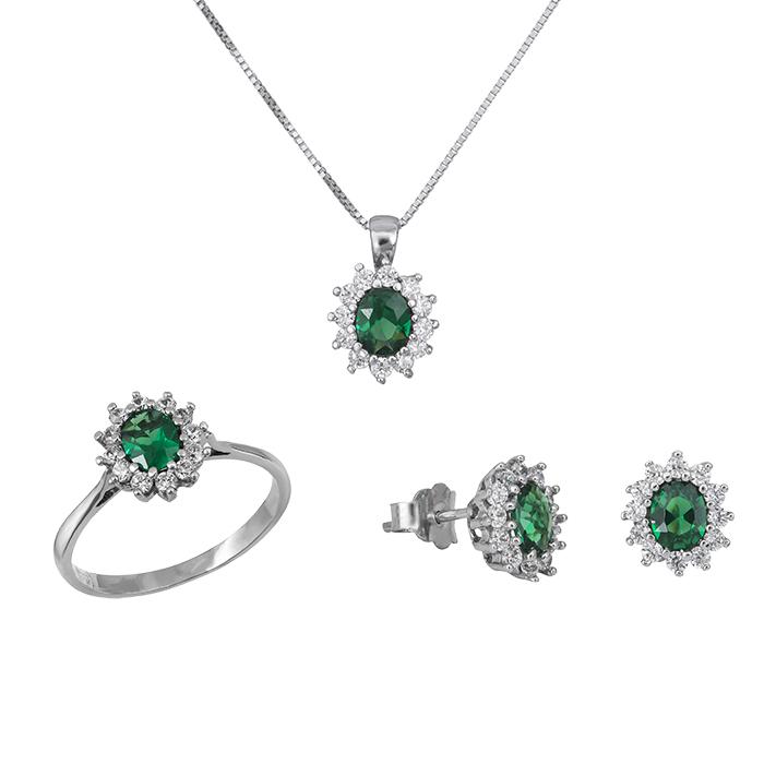 Λευκόχρυσο σετ γάμο- αρραβώνα Κ14 ροζέτα με πράσινη πέτρα SET029017 SET029017 Χρυσός 14 Καράτια