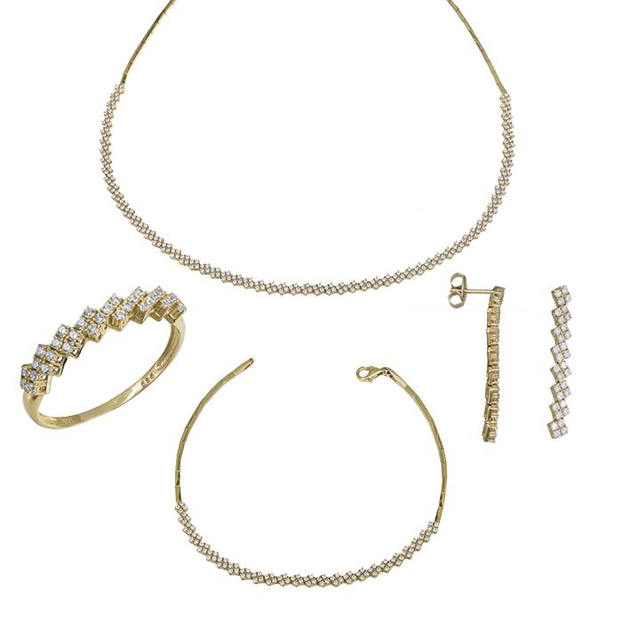 Σετ γάμου- αρραβώνα Κ14 χρυσό με ζιργκόν πέτρες SET030227 SET030227 Χρυσός 14 Καράτια