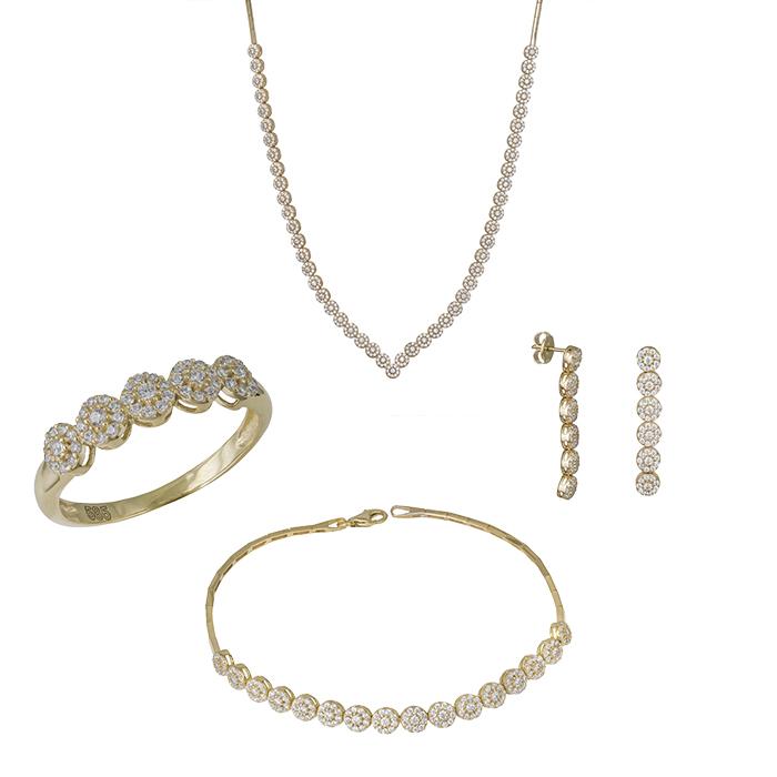 Χρυσό σετ γάμου Κ14 ροζέτα με ζιργκόν πέτρες SET032423 SET032423 Χρυσός 14 Καράτια