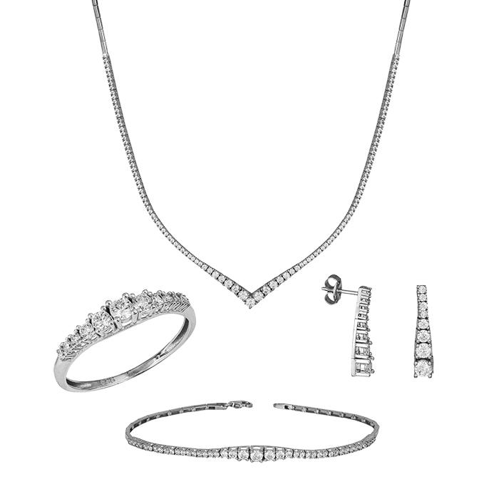 Λευκόχρυσο σετ γάμου Κ14 με ζιργκόν ντεγκραντέ SET035414 SET035414 Χρυσός 14 Καράτια