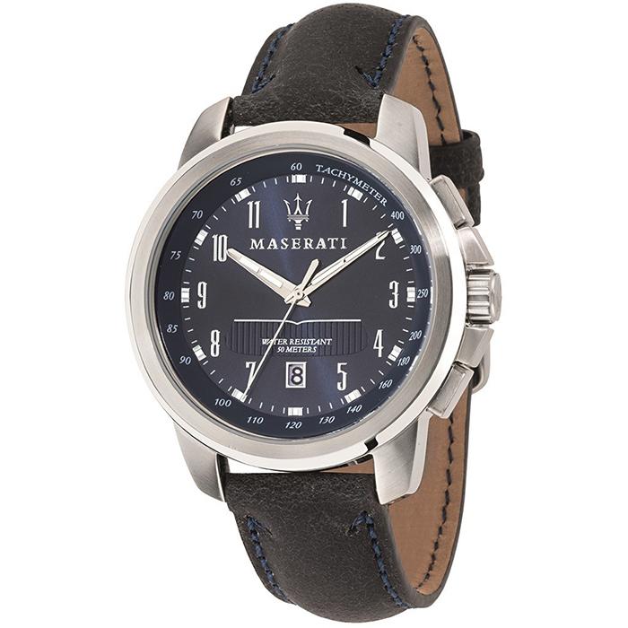 Ρολόι MASERATI Successo Blue Leather Strap R8851121003 R8851121003 Ατσάλι